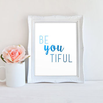 Gradient Beyoutiful Printable Sign, Ombre Beautiful Printable Digital Wall Art Template, Instant Download, Customizeable 8x10