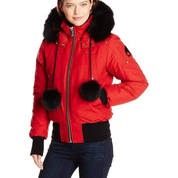 Moose Knuckles Stirling Down Parka Jacket with Fur Trim Hood