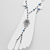 Filigree Hamsa Barefoot Sandals Blue