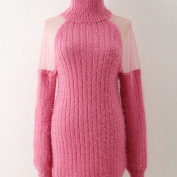 Turtle Neck Mohair Knit Long Sleeve Sweater