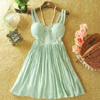 SWEET PEARL STRAP DRESS
