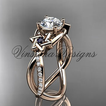 14kt rose gold diamond, Star of David ring, jewish ring, Forever One Moissanite, engagement ring VH10013