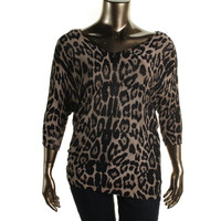 INC Womens Plus Ribbed Knit Animal Print Tunic Sweater