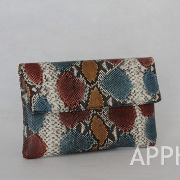 Elbulli Genuine Exotic Python Clutch in Hand-painted Rainbow Blue Brown Natural Color- limited piece