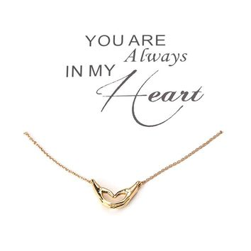 1pc Fashion Simple LOVE Heart Hand Charms Wish Card Choker Collier Necklaces Pendants Links Chains Gold Plate Jewelry Gift