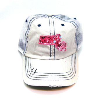 Massachusetts Trucker Hat - Distressed - Floral Fabric State Cutout