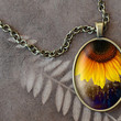 Sunflower Necklace, Sunflower Pendant, Flower Necklace, Oval Charm (1558B)