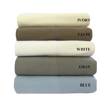Full WHITE 100% Natural Cotton Solid Flannel Sheet Sets