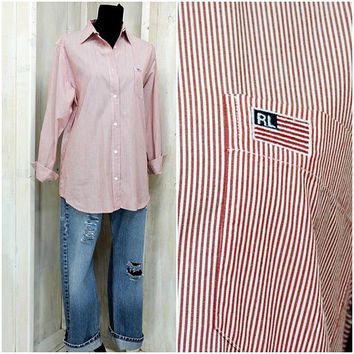 80s Polo Ralph Lauren oxford shirt / vintage Ralph Lauren / womans striped shirt / cotton button down blouse / long sleeve red white 10 / 12