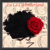Black feather fascinator red sparkle rose hair clip for babies, girls, and women Pefect for festivals concerts showers and gifts