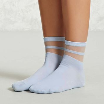 Sheer Stripe Mesh Crew Socks