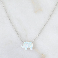 White Synthetic Opal Elephant Necklace