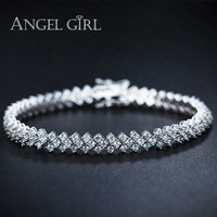 Angel Girl AAA+ Elegant CZ Diamond Tennis Bracelets for Woman Round Cut Wedding Jewelry 30 pieces free shipping by DHL to USA