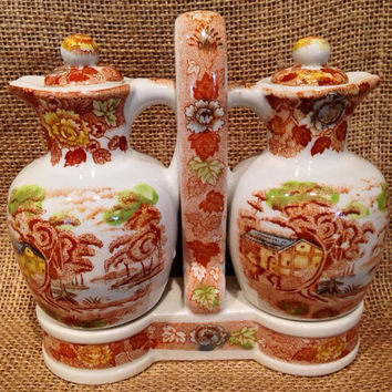 Nasco 1940s Mountain Woodland oil & vinegar cruet set