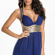 Navy Blue V- Neckline Soft Padded Chiffon Dress with Sequins Detail