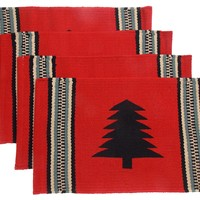 "Red Pine Tree Silhouette Placemats Set 4 12""x18"" Rustic Lodge Virah Bella Xmas"