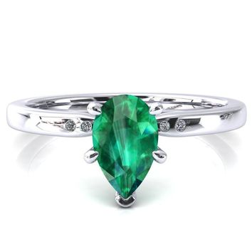 Maise Pear Emerald 6 Prong Diamond Accent Engagement Ring