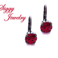 Swarovski Crystal Earrings, 8mm Scarlet Red, New 2017/2018 Swarovski® Color, Studs Or Drops, Assorted Finishes, Holiday Jewelry