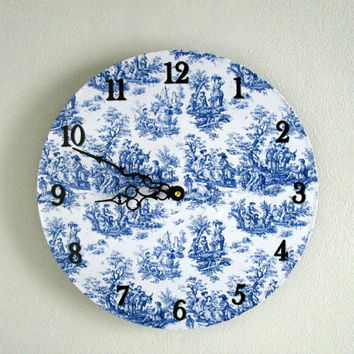 Blue Toile Wall Clock - Blue and White Decor - Vintage Style Wall Clock - French Country Wall Decor - Unique Wall Clock - Upcycled Wall Art