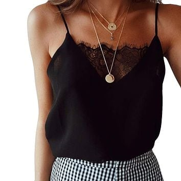 Lace Camisole Crop Top Sleeveless Tank Top