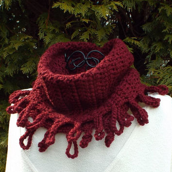 Oxblood Wine Cowl - Womens Crochet Neck Warmer - Ladies Circle Scarf - Chunky Scarf with Loop Fringe