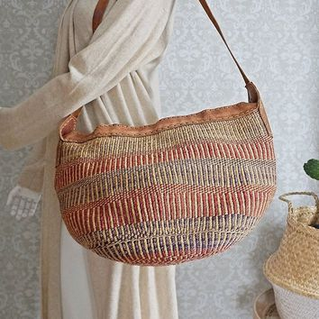 Vintage 1970s Handmade + Sisal Leather Bucket Bag