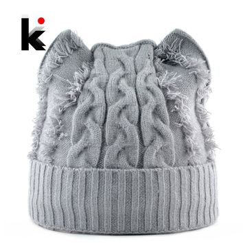 bc88417462b Winter Knitted Hats Women Cute Cat Ears Beanies Skullies Female