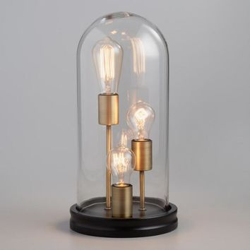 Glass Cloche 3 Edison Bulb Table Lamp
