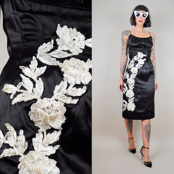 3D Floral 60's Wiggle Embroidered Raffia Rose black SATIN rhinestone 50's Party Dress Bombshell Cocktail Straw