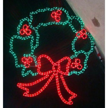 """Large LED 44"""" Christmas Wreath. Hanging rings included. For indoor/outdoor use."""