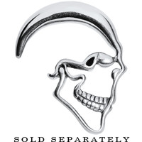 0 Gauge Stainless Steel Grimacing Skull Hanger Plug Taper | Body Candy Body Jewelry
