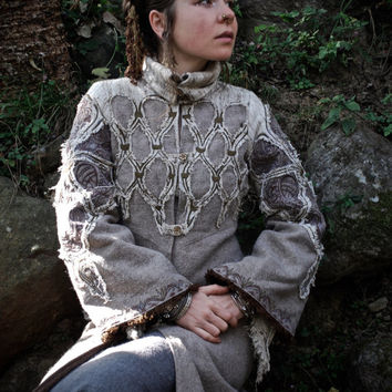 Pure double wool Jacket Coat with elaborate Viking Slavic inspired embroidery Hand made winter Warm