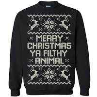 Merry Christmas Ya Filthy Animal Unisex Crewneck Xmas Ugly Sweater  Sweatshirt