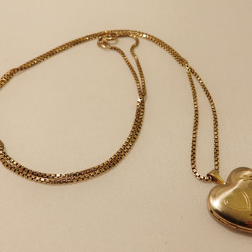 Vintage 14k GF Gold Filled Double Heart Locket