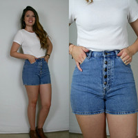 Button Up High Rise DENIM SHORTS 90s // Small //