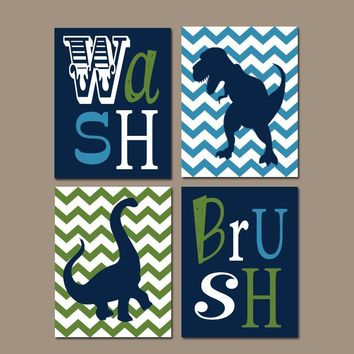 DINOSAUR BATHROOM Wall Art, Dinosaur Bathroom Decor Canvas or Prints Boy Wash Brush Quote Decor, Boy Bathroom Rules Wall Decor, Set of 4