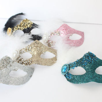 Glittery Masquerade Masks, Mardi Gras, Turquoise, Pink, Silver, Champagne / Gold, Cake Topper, Decoration, Craft, overthetopcaketopper