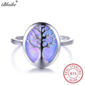Blaike Luxury Blue/White Fire Opal Cute Life Tree Rings For Women Men S925 Sterling Silver Birthstone Fine Jewelry Graduate Gift