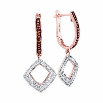 10k Rose Gold Women's Red Diamond Square Dangle Hoop Earrings - FREE Shipping (US/CA)