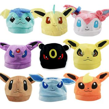 Top Anime Pokemon Eevee Ib Logo Cotton Hat Winter Warmer Beanie Cap Costume Ball Cosplay Gift New Arrival 9 patterns