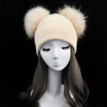 WENDYWU Lady Winter Fur Pompom Hat for Girls Crochet Beanie Hats for Adults Knitted Wool Double Two Pompon Fur Hat