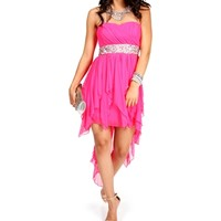 Hot Pink Sequin Hi Lo Dress