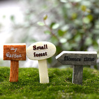 3PCS/set Resin Sign Board Fairy Garden Miniature Craft Micro Cottage Landscape Decoration For DIY Resin Crafts