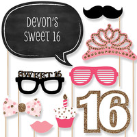 Sweet 16 Birthday Party Photo Booth Props Kit