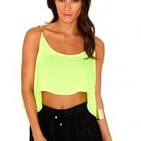 Missguided - Cherry Swing Crop Top With Chain Straps In Acid Green