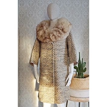 Vintage 1960s Fox Fur Collar + Tweed Coat