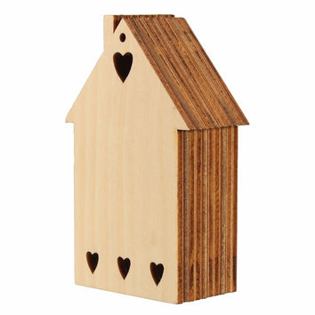 DIY 10 Wooden Love House Heart Cabin House Unfinished Plain Wood Shapes Craft Supply Laser Cut Outs Woodware Home Decoration