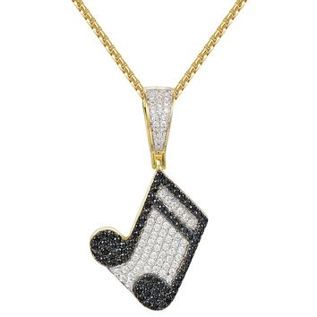 Designer Music Note Melody Charm Iced Out Pendant