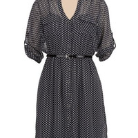 Printed Chiffon Shirtdress with Belt
