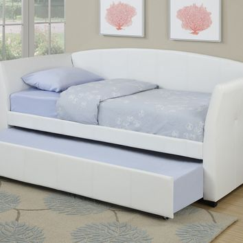 Poundex F9259 White finish faux leather padded twin size day bed with pull out trundle